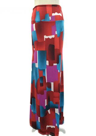 Printed High Waist Casual Long Skirt