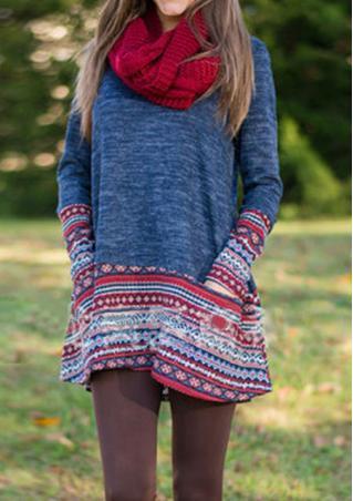 Printed Splicing Loose Sweater
