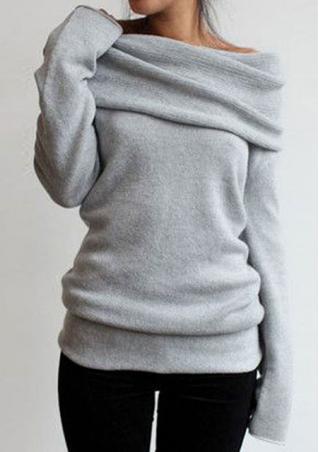 Solid Casual Heaps Collar Sweatshirt