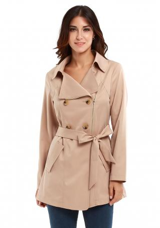 Solid Double-Breasted Coat With Belt
