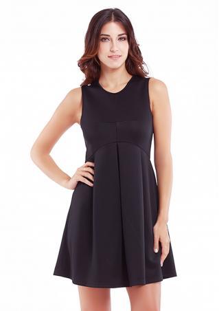 Solid Ruffled Zipper Sleeveless Mini Dress