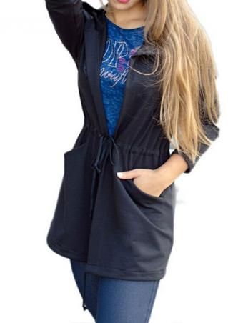 Solid Hooded Long Sleeve Casual Coat