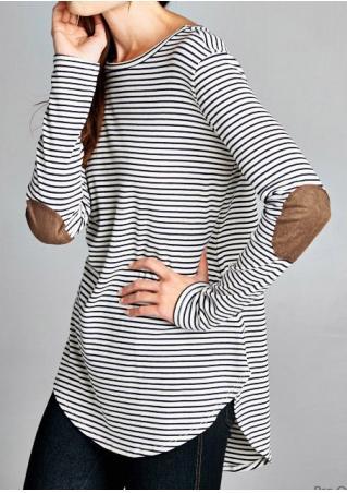 Striped Splicing Sleeve Irregular Casual Blouse