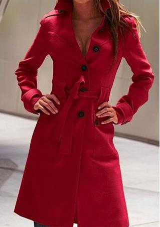 Solid Button Coat With Belt