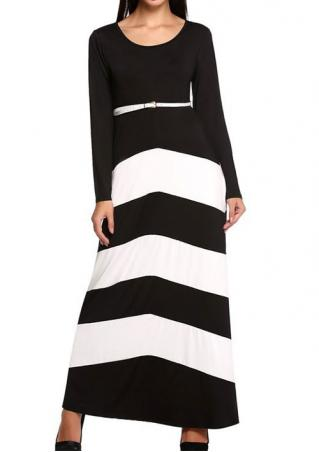 Splicing Casual Maxi Dress With Belt