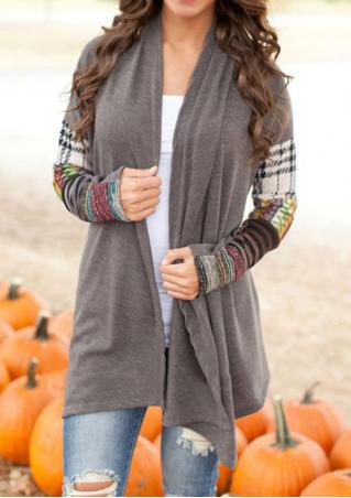 Splicing Printed Long Sleeve Casual Cardigan