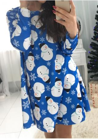 Cute Snowman Printed Swing Dress