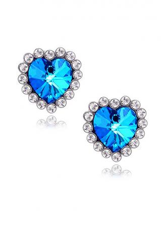 Heart Imitated Crystal Ear Studs