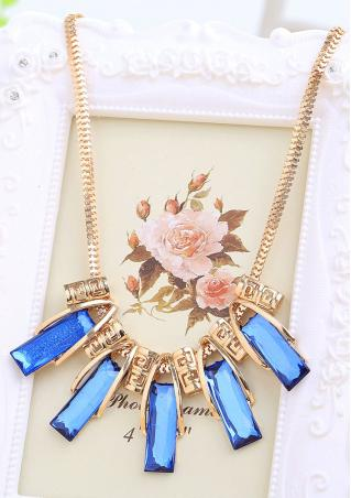 Imitated Crystal Pendants Royalblue Choker Necklace