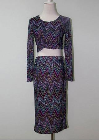 Zigzag Printed Bodycon Two-Piece Dress