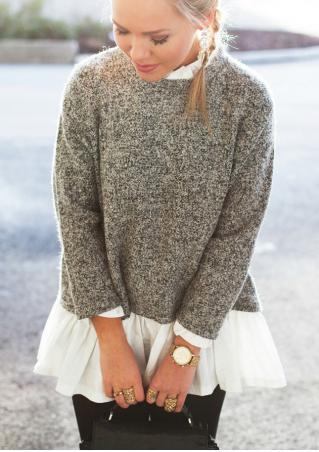 Solid Splicing Ruffles Casual Sweater