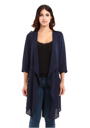 Irregular Chiffon Coat With Belt