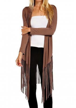 Solid Tassel Irregular Knitted Casual Cardigan