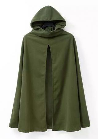 Solid Hooded Casual Cloak Coat