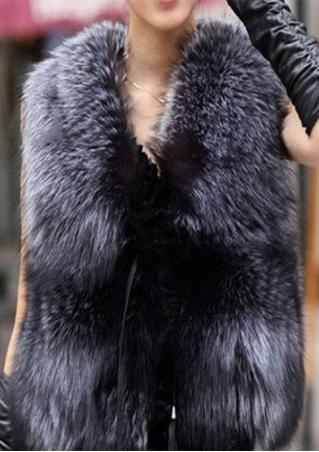 Solid Faux Fur Sleeveless Waistcoat