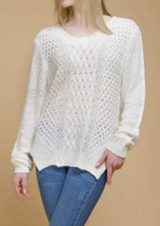 Solid Lace Up Hollow Out Sweater