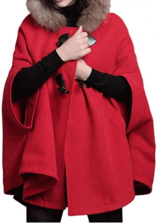Solid Button Pocket Bowknot Hooded Cloak Coat
