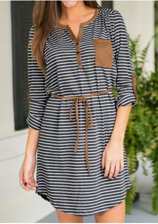 Striped Pocket Splicing Casual Mini Dress With Belt
