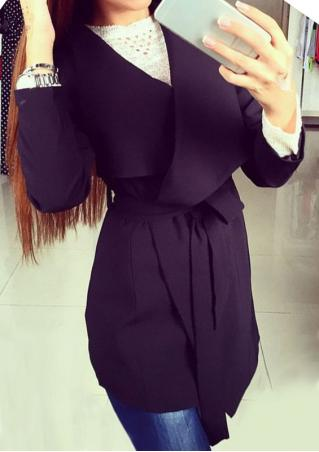 Solid Fashion Long Coat With Belt