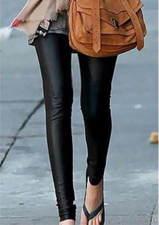 Solid Faux Leather Zipper Leggings