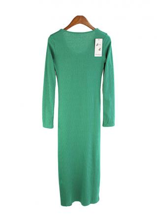 Solid Knitted Long Causal Dress