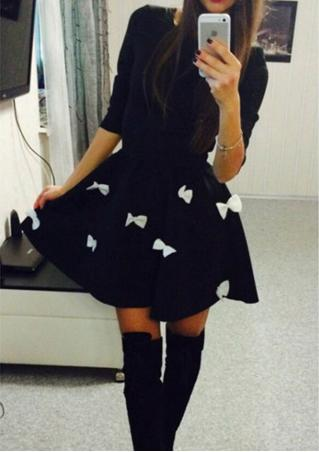 Solid Bowknot Half Sleeve Swing Dress