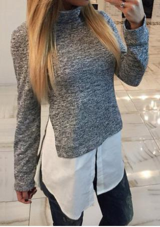 Splicing Casual Long Sleeve Turtleneck Sweatshirt