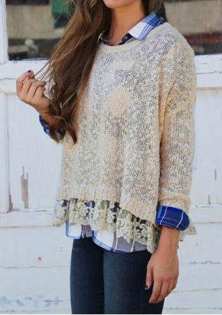 Solid Lace Long Sleeve Sweater