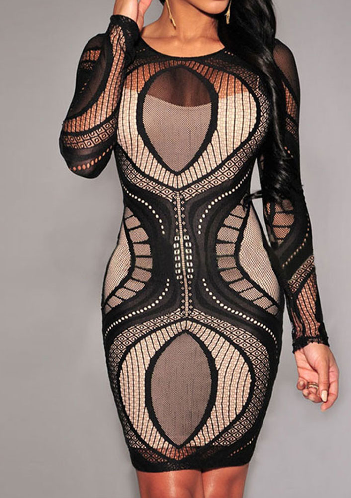 Lace Hollow Out Bodycon Mini Dress