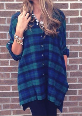 Plaid Button Split Casual Shirt