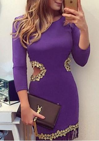 Solid Tassel Lace Hollow Out Bodycon Dress