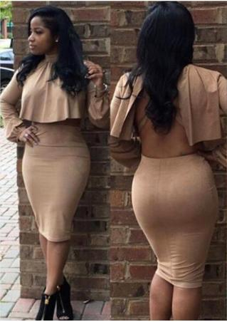 Solid Backless Bodycon Two-Piece Dress