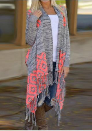 Geometric Printed Tassel Knitted Casual Cardigan