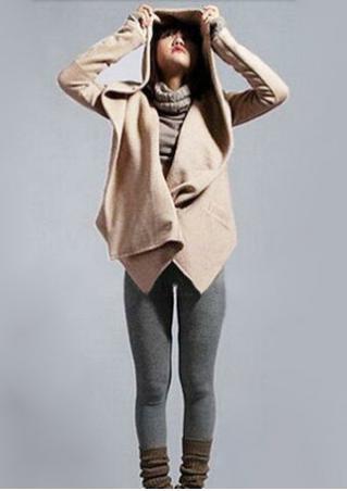 Solid Pocket Irregular Hooded Coat