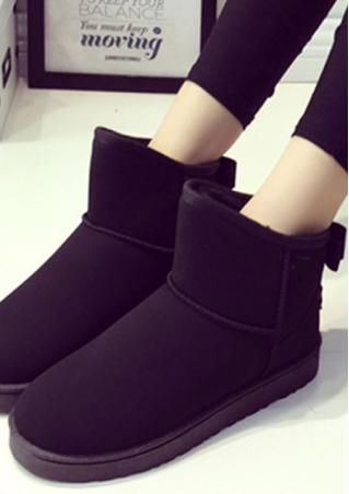 Solid Bow Faux Fur Snow Boots