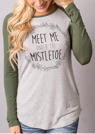 Printed Letter Casual Long Sleeve Blouse