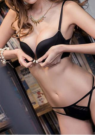 Solid Front Closure Lace Embroidery Bra Sets