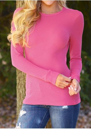 Solid Casual Long Sleeve Sweatshirt