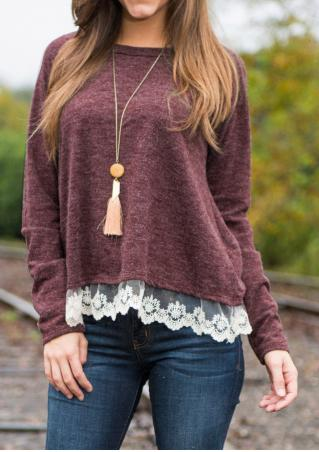 Lace Splicing Casual Knitwear Sweater