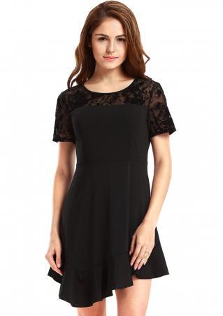Solid Lace Irregular Mini Dress
