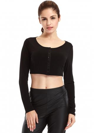 Solid Button Crop Top
