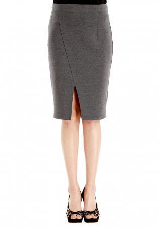 Solid Split Bodycon Pencil Skirt