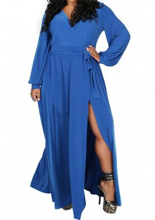 Solid Ruffled Split Maxi Dress With Belt