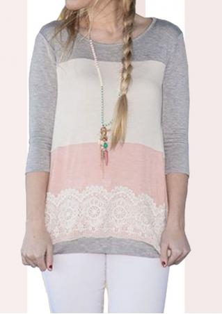 Lace Splicing Casual T-Shirt Without Necklace