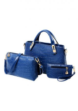 Solid Zipper PU Leather Three Pieces Bags