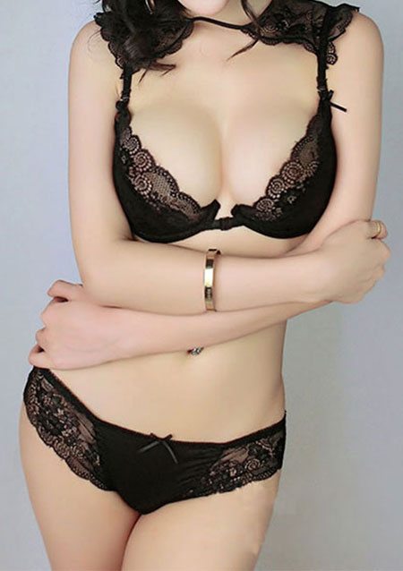 Solid Thin Lace Brief Bra Sets