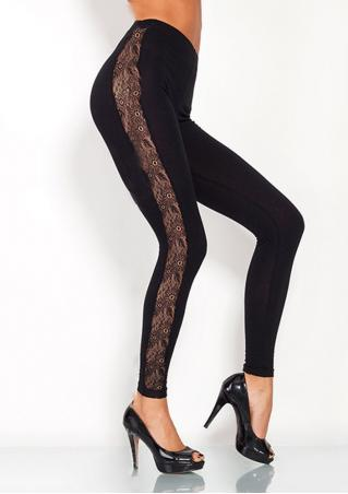 Solid Lace Hollow Out Splicing Slim Pants