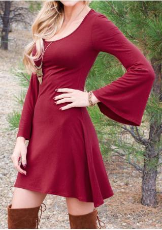 Solid Casual Flare Sleeve Mini Dress