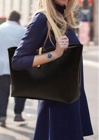Solid PU Leather Casual Shoulder Bag Handbag