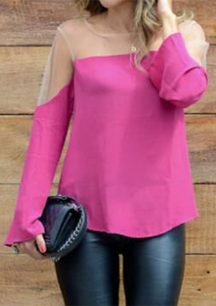 mesh splicing off shoulder fashion blouse